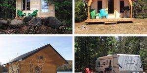 cabines, tentes boréales, cabines flottantes, roulottes