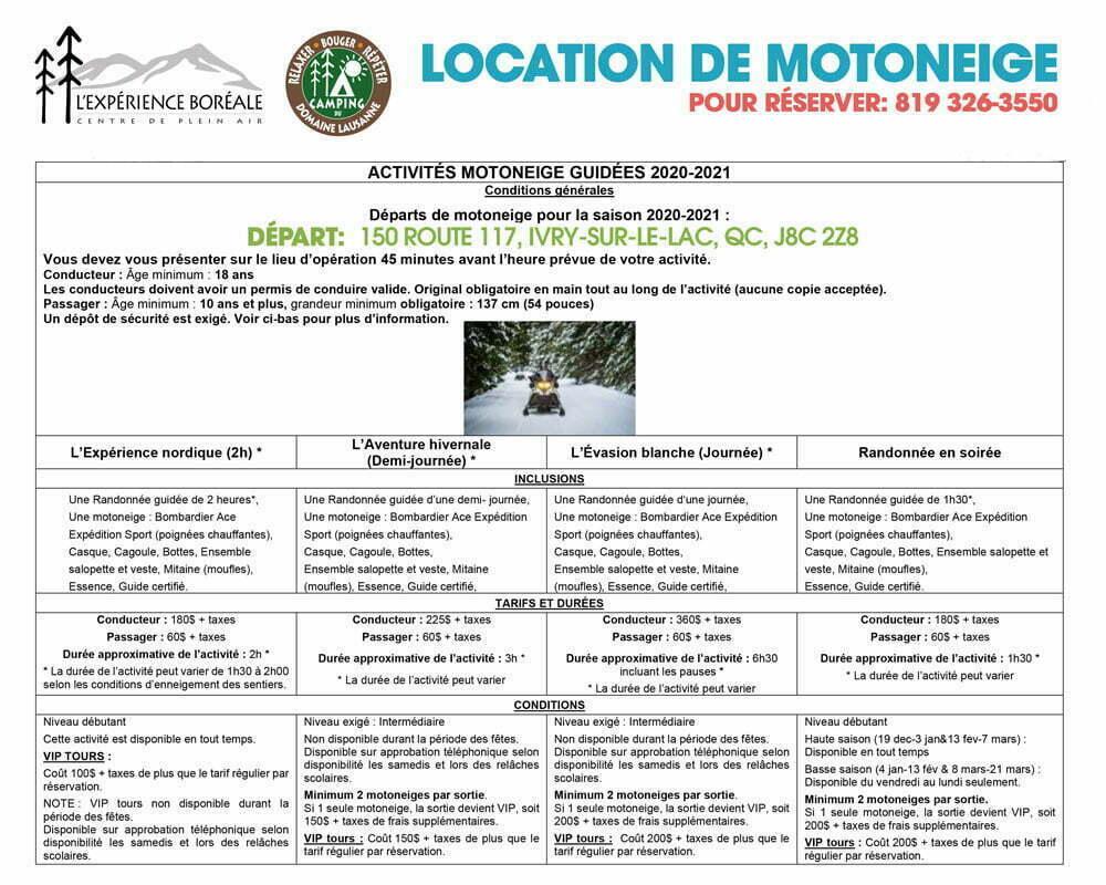 experience boreale location motoneige guidee skidoo